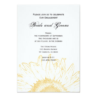 """Sunflower Graphic Engagement Party Invitation 5"""" X 7"""" Invitation Card"""