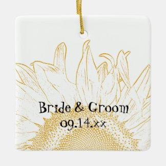 Sunflower Graphic Wedding Ceramic Ornament