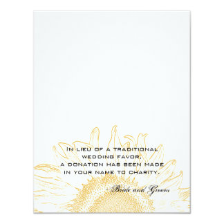 Sunflower Graphic Wedding Charity Favor Card