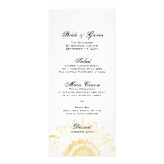 Sunflower Graphic Wedding Menu Rack Card Design