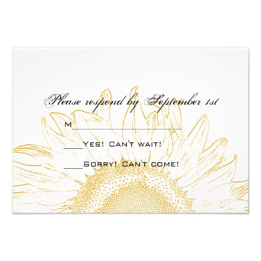 Sunflower Graphic Wedding Response Card 35 X 5 Invitation Card