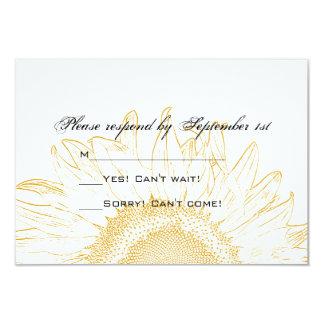 "Sunflower Graphic Wedding Response Card 3.5"" X 5"" Invitation Card"