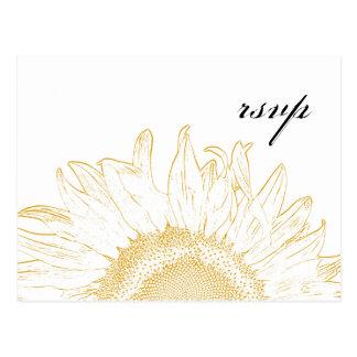 Sunflower Graphic Wedding RSVP Response Postcard
