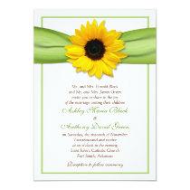 "Sunflower Green Ribbon Wedding Invitation 5"" X 7"" Invitation Card"