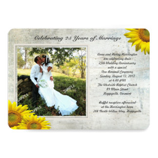 Sunflower Grunge Photo Renewing Marriage Vows Card