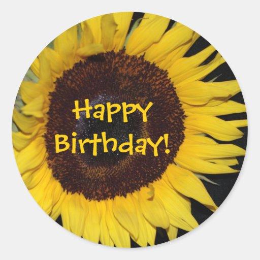 Sunflower, HappyBirthday! Round Stickers