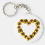 Sunflower Heart Basic Round Button Keychain