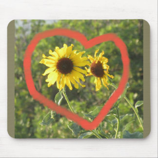 Sunflower Heart Mouse Pad