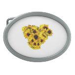 Sunflower Heart Oval Belt Buckle