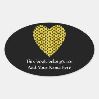 Sunflower Heart Oval Sticker
