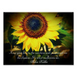 Sunflower Helen Keller Quote: Uplifting Poster