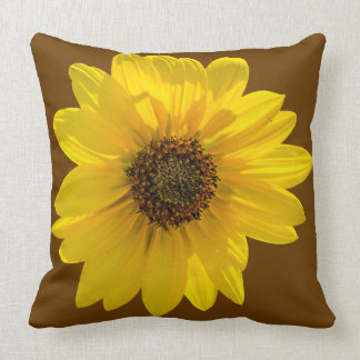 Sunflower (Helianthus) backlit by the sun Throw Pillow