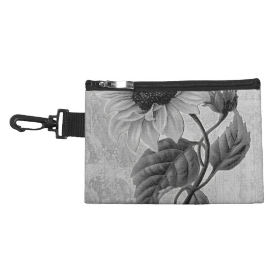 Sunflower Helianthus Monochrome Accessory Bag