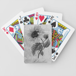 Sunflower Helianthus Monochrome Bicycle Playing Cards