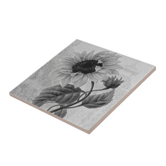 Sunflower Helianthus Monochrome Ceramic Tile