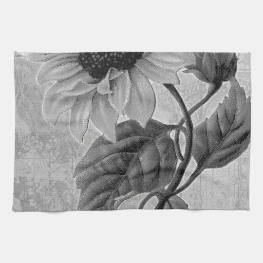 Sunflower Helianthus Monochrome Kitchen Towel