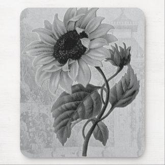 Sunflower Helianthus Monochrome Mouse Pad