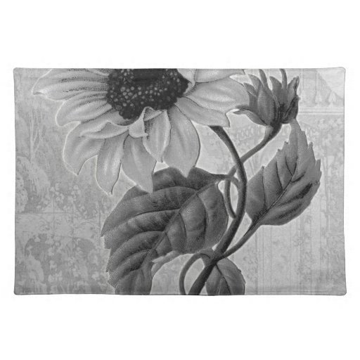 Sunflower Helianthus Monochrome Placemat