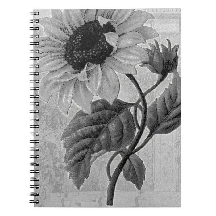 Sunflower Helianthus Monochrome Spiral Notebook