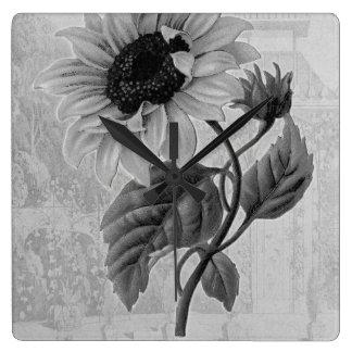 Sunflower Helianthus Monochrome Wall Clock