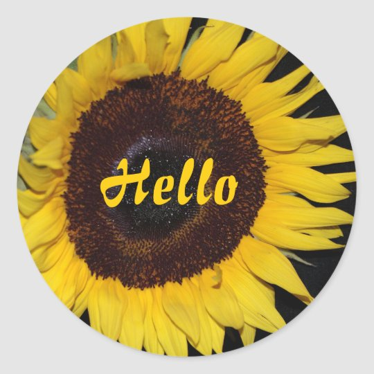 Sunflower, Hello Classic Round Sticker