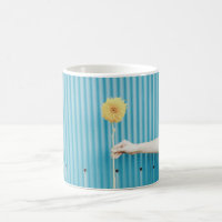 Sunflower Himawari Light Blue Yellow Flower Coffee Mug