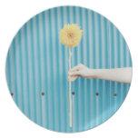 Sunflower himawari Light Blue Yellow Photo Round Dinner Plate