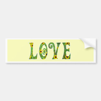 Sunflower Hippy Love Bumper Sticker