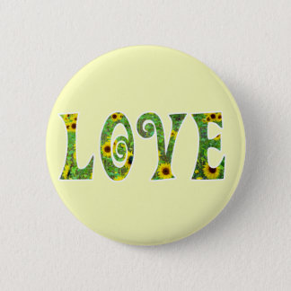 Sunflower Hippy Love Button