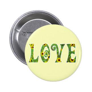 Sunflower Hippy Love Button