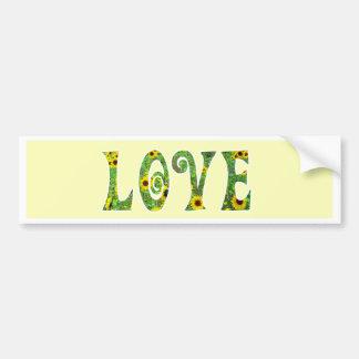 Sunflower Hippy Love Car Bumper Sticker