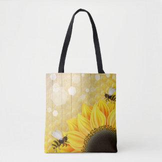 Sunflower Honeybee Honeycomb Yellow Black Brown Tote Bag