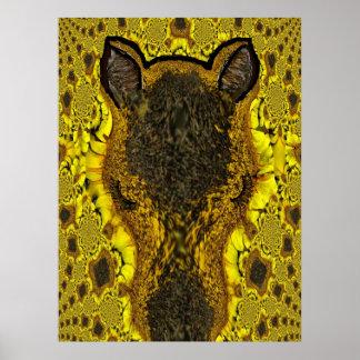 Sunflower Horse Head Fractal Art Poster