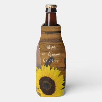 Sunflower Horseshoe Country Western Wedding Favor Bottle Cooler