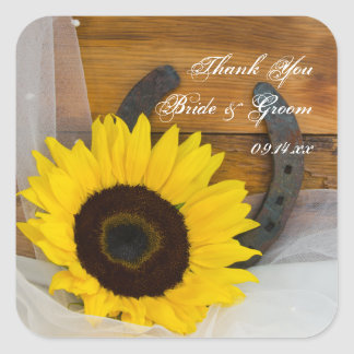 Sunflower Horseshoe Wedding Thank You Favor Tags Square Sticker