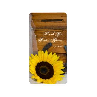 Sunflower Horseshoe Western Wedding Thank You Tag