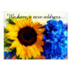 Sunflower Hydrangeas New Home Address Postcard