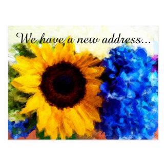 Sunflower Hydrangeas New Home Address Postcard