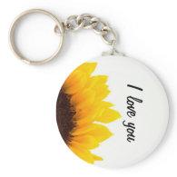Sunflower I love you keychain