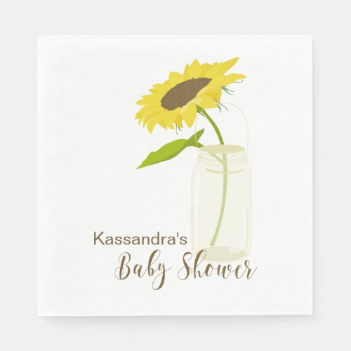 Sunflower In A Mason Jar Baby Shower Lunch Napkin