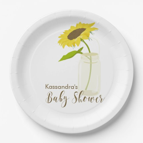 Sunflower In A Mason Jar Baby Shower Plates