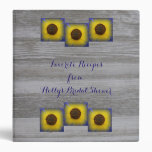 Sunflower in Blue Rustic Barn Wood Recipe Binder