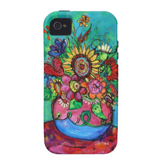 Sunflower in Pink Vase Vibe iPhone 4 Cases