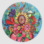 Sunflower in Pink Vase Classic Round Sticker