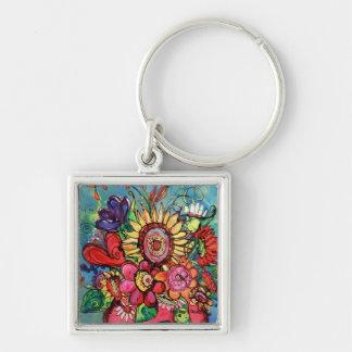 Sunflower in Pink Vase Keychain