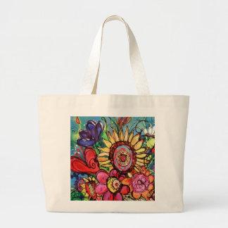 Sunflower in Pink Vase Large Tote Bag