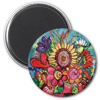 Sunflower in Pink Vase 2 Inch Round Magnet