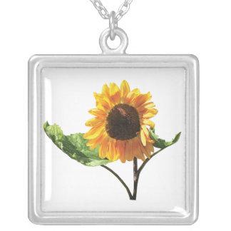 Sunflower in Sunshine Square Pendant Necklace