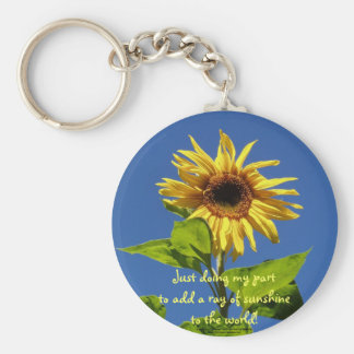 Sunflower in the blue sky basic round button keychain