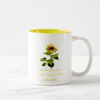 Sunflower in the blue sky Two-Tone coffee mug